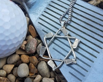 Star of David Golf Club Pendant and Chain 925 Sterling silver