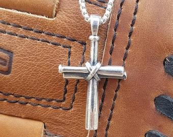Men's Baseball Cross Necklace