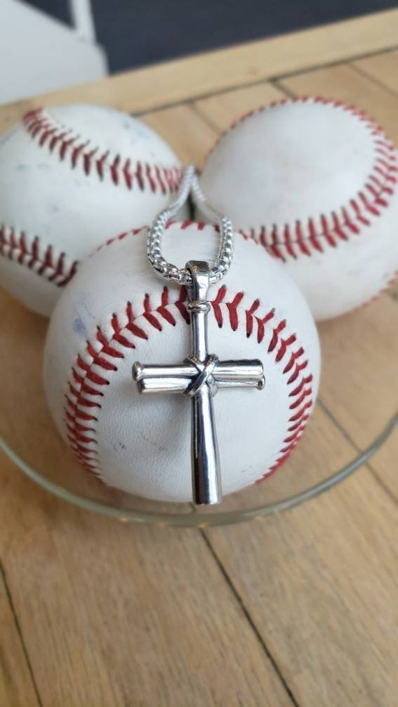 "18/"" Italian Box Chain Sterling Silver Baseball Bats Pendant Charm"