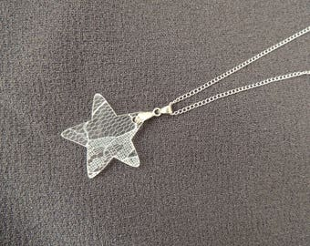 Mesh Star Silver Pendant Necklace