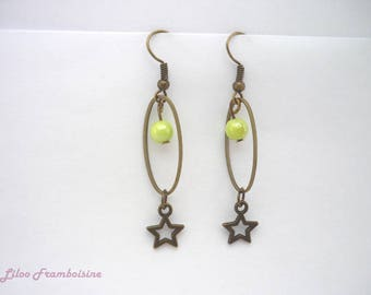 Bronze earrings, green anise and star bead