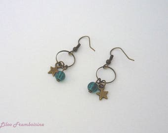 Bronze Pearl Earrings blue duck and Star