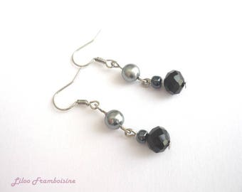Grey pearls and black faceted bead earrings