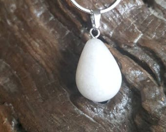 White jade pendant necklace, sterling silver necklace, Mothers Day gift, birthday gift, Crystal, Gemstone, reiki, chakra.