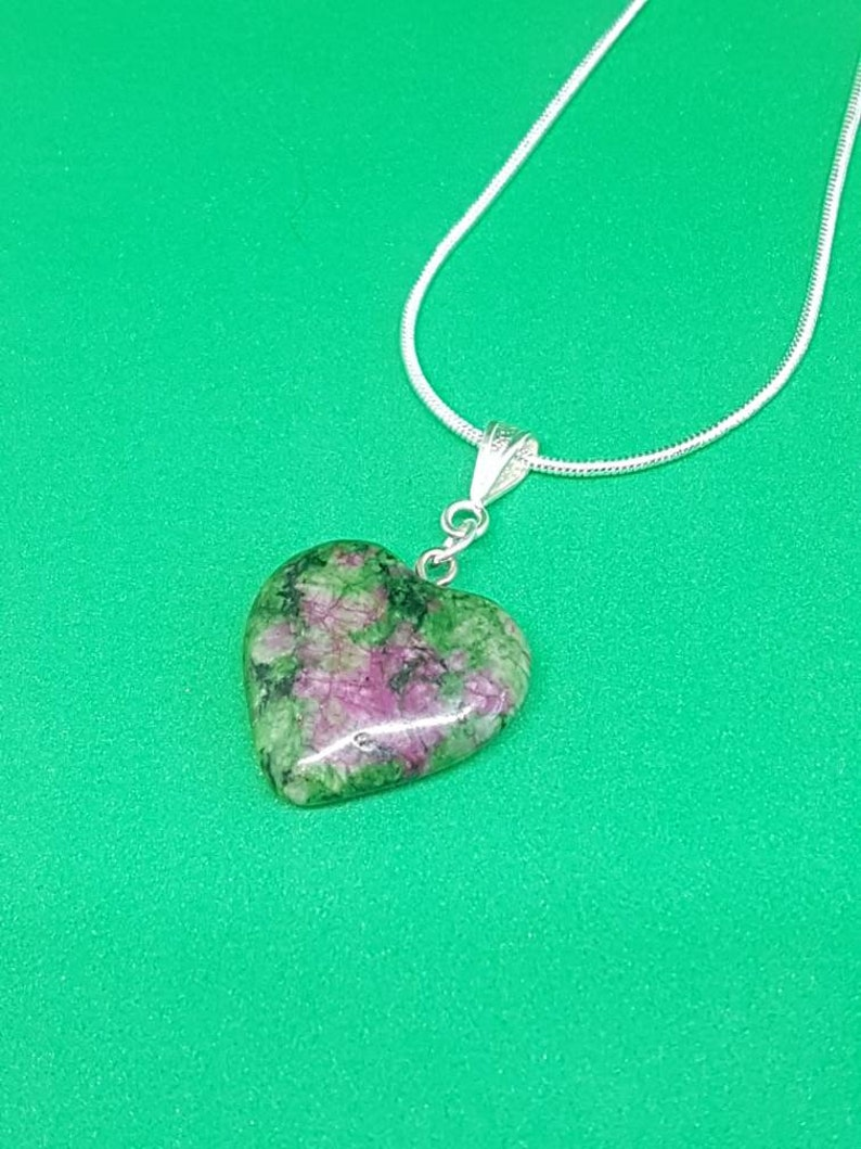 Ruby in zoisite heart shaped pendant necklace
