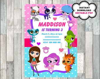 Littlest Pet Shop Invitation Printable Party Customizable Template Editable PDF File You Fill And Print