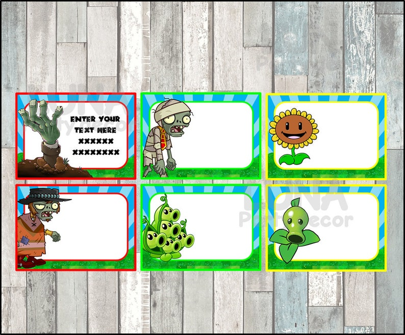 Plants vs Zombies School label - name label - name tag sticker - Back To  school label - book label - this belongs to label INSTANT DOWNLOAD
