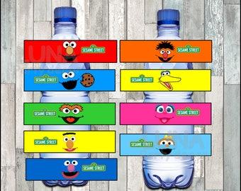 Sesame Street Water Bottle Label instant download, Printable Elmo party Water Bottle Label, Cookie Monster Water Bottle