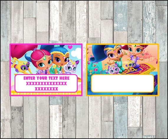Shimmer And Shine Cards Tags Book Labels Stickers Kids Etsy