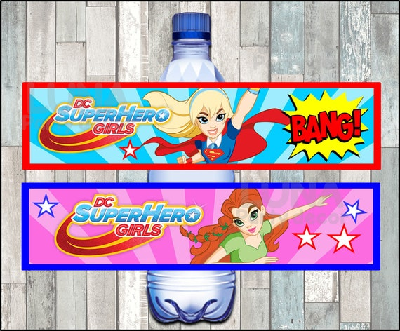 birthday hero PARTY FAVORS 20 Superhero Water Bottle Labels CUSTOMIZE