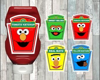 Sesame Street Condiments Labels instant download, Printable Elmo party Condiments Labels, Cookie Monster Condiments Labels