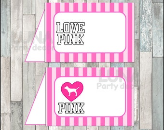 Victorias Secret Pink Food Tent Cards instant download, Printable Victoria secret party Food labels, Victoria secret Food table labels