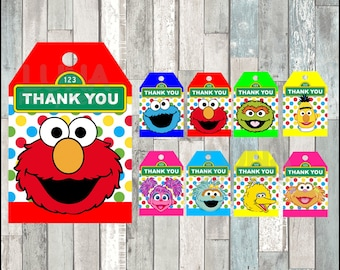 Sesame Street thank you tags instant download, Printable Elmo party tags, Cookie Monster thank you tags