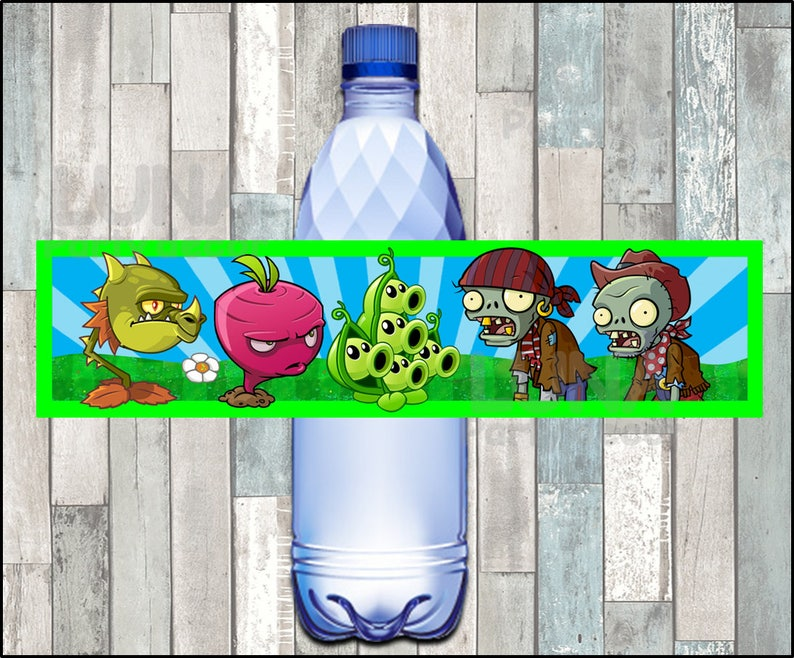 Plants vs Zombies Water labels Printable Plants vs Zombies party Water Bottle Label Plants vs Zombies Water Bottle Label instant download