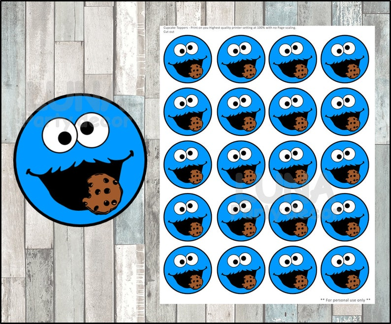 image regarding Cookie Monster Printable called Cookie Monster Toppers immediate obtain, Printable Sesame Road occasion cupcakes Topper, Cookie Monster cupcakes toppers