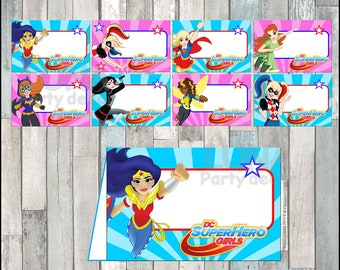 DC Super Hero Girls Food Tent Cards instant download, Printable Harley Quinn party Food labels, DC Super Hero Girls Food table labels