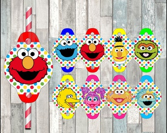 Sesame Street straw tags instant download, Printable Elmo party straw tags, Cookie Monster straw toppers