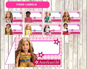 American Doll Girl Food Tent Cards instant download, American Doll Girl party Food labels, American Doll Girl Food table labels
