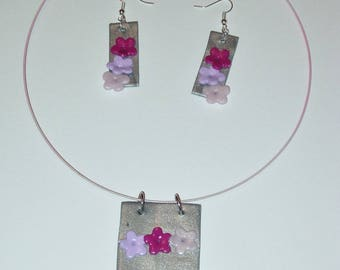 Set with necklace and earrings with polymer clay