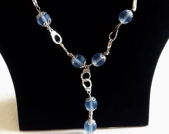 Handcuff Necklace blue glass beads