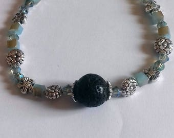 Bracelet with crystals and silver beads