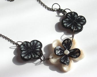Black and white polymer clay necklace