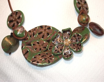 G - Styled with khaki and Brown polymer clay necklace