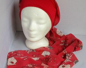 Turban préformé - Foulard cheveux - chapeau - bandeau chimio rouge fleuri à  très longs pans 67955027c08
