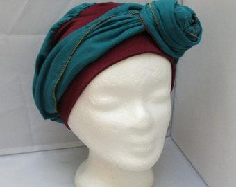 Turban chimio préformé, Foulard cheveux, chapeau chimio uni bleu canard bandeau  bordeaux à pans longs 3cf8ab2f860