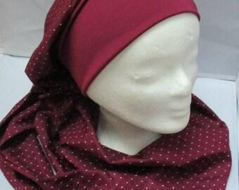Turban préformé, foulard cheveux, bonnet chimio, chapeau chimio, bandeau  chimio, tout en camaïeu bordeaux à long pan 419fb7c5f3d