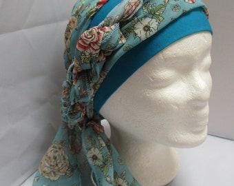 Turban chimio préformé foulard cheveux bonnet chapeau bleu à fleurs corail  bandeau jersey coton bleu, à longs pans 8d57025e5ef