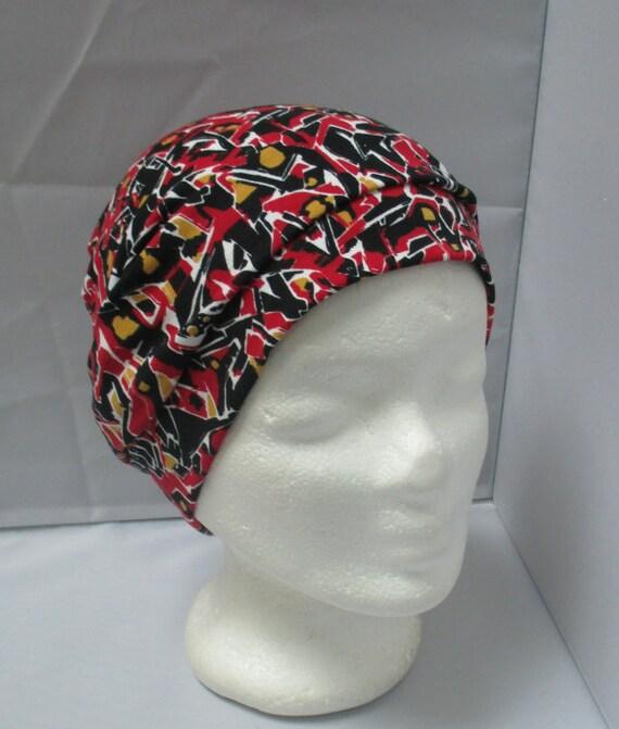 Bonnet Turban bandeau chapeau chimio rouge à motifs   Etsy 1809f0c07fc