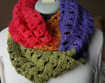 Handmade crocheted infinity scarf in bright colors