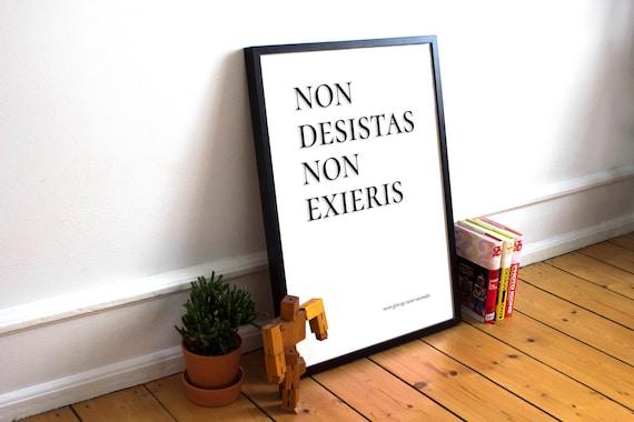 Non Mollare Mai Mai Resa Stampa Citazione Latina Citazione Ispiratrice Frase Di Incoraggiamento Vintage Testualmente Download Digitale Printable