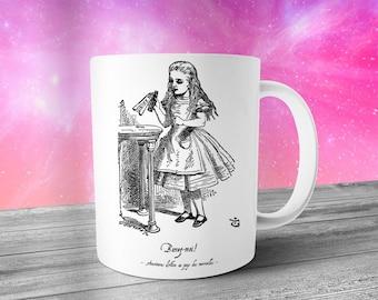 French Alice in Wonderland Mug, Drink Me!, Graphic Mug, Coffee Mug, Tea Mug, Looking Glass, Birthday Gift, Lewis Carroll, Girlfriend Gift