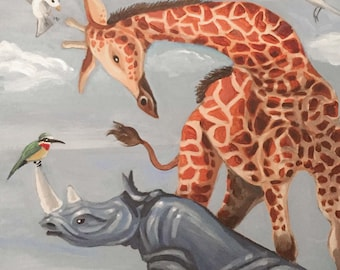 Giraffe and Rhino with Birds