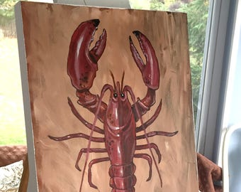 Red Lobster Wood Panel Painting