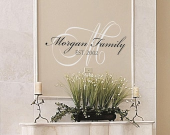 Custom MONOGRAM decal / family name sign / family name decal / est date sign / monogram VINYL wall decal / family monogram sign