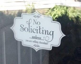 No Soliciting sign, no soliciting vinyl decal, no soliciting door decal, no soliciting window vinyl, door sign, no solicitors sign