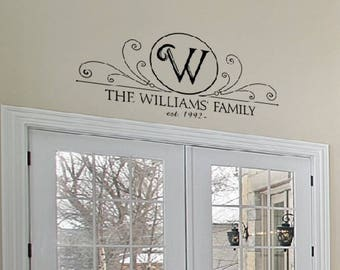 Decorative frame decal / MONOGRAM vinyl decal / family name decal / entryway sign / family name sign / family monogram sign