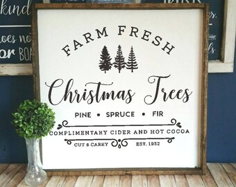 DIY Farmhouse style decal, Farm Fresh Christmas trees vinyl, Farm Fresh trees decal,  Farmhouse Christmas decal, christmas trees vinyl decal