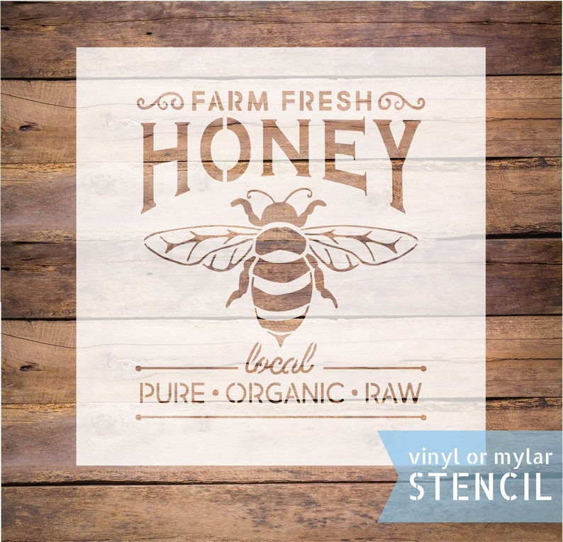 honey bee stencil farm fresh honey stencil reusable stencil image 0