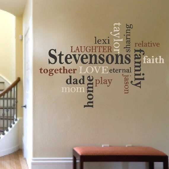 BE HAPPY FAMILY RULES WORDS HOME FAMILY COLLAGE VINYL DECAL WALL ART LETTERING
