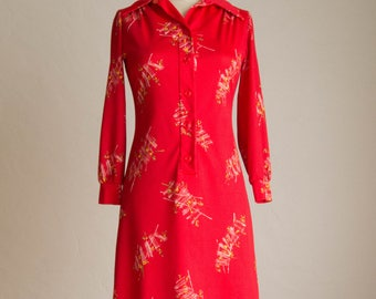 Vintage 70's Red & Abstract Flower Dress w/ a placket