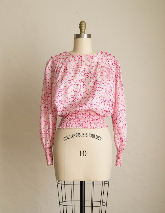 80's Bright Pink & White Floral Long Sleeve Blouse