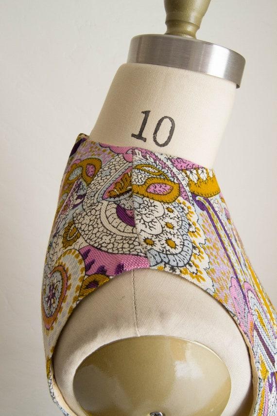 60's Purple & Brown Paisley Print Shift Dress - image 9