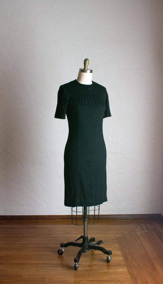 1960's Black Fitted Knit Dress