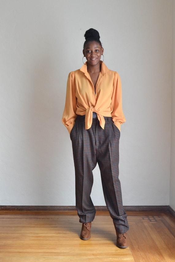 Vintage 80's High Waist Baggy Pants/ Vintage Plai… - image 2