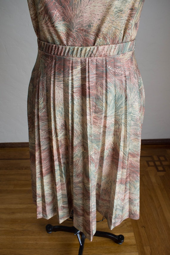 1970's 3 Piece Skirt Set/ Abstract Floral Print S… - image 7