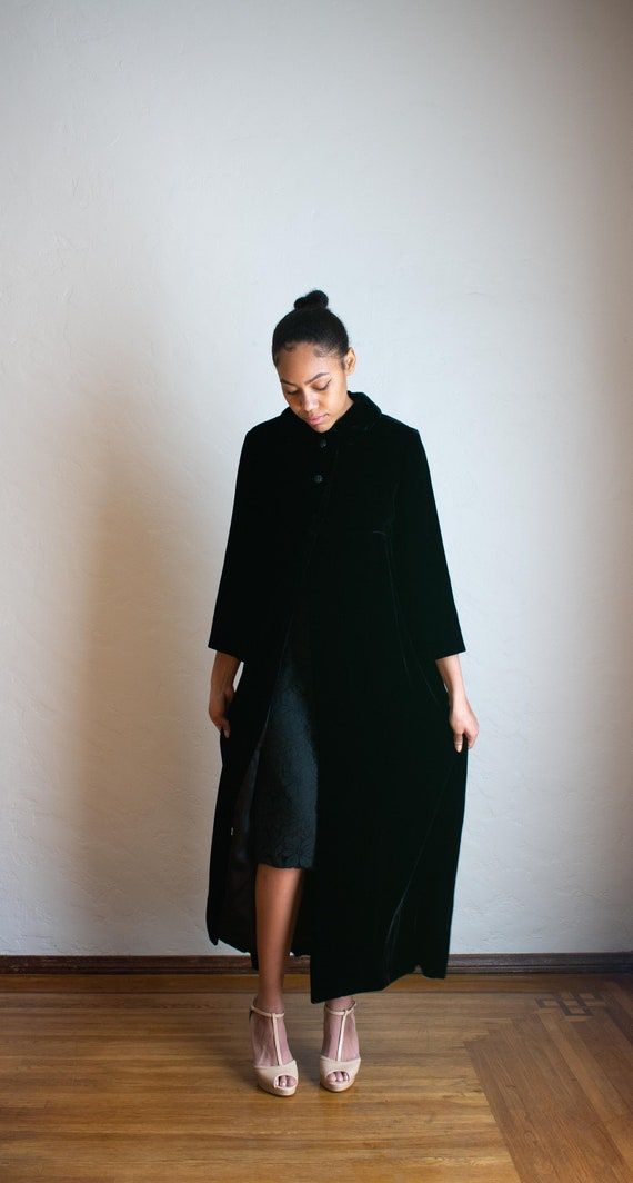 70's Long Black Velvet Evening Coat